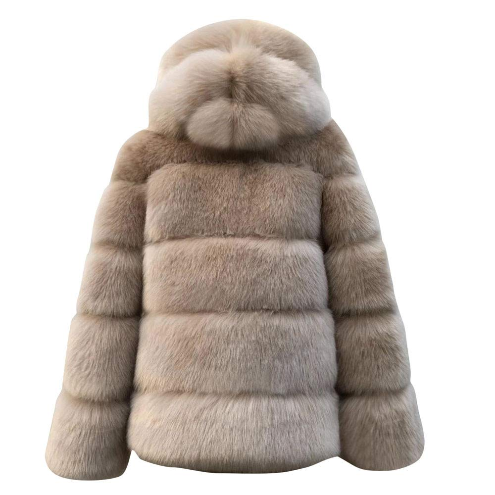Lurryly❤Women Fashion Luxury Long Sleeve Faux Fur Hooded Coat Warm Fluffy Shaggy Jacket with Pockets Outerwear