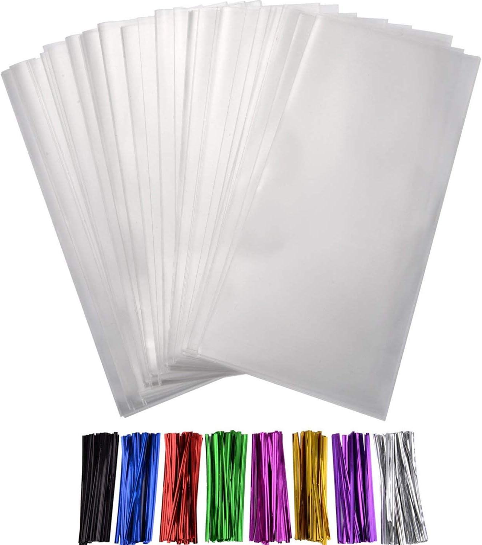 Shappy 200 St/ück Klare Treat Taschen mit 8 Gemischten Farben Twist Krawatten 4 Zoll f/ür Hochzeit Cookie Favor Valentine Geschenke 9 x 4 Zoll Taschen