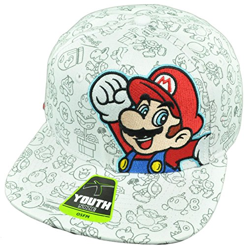 Super Mario Brothers Snapback Youth Video Game Flat Bill Hat Cap Nintendo White