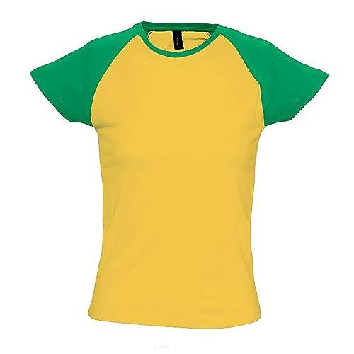 SOLS- Camiseta Milky de manga corta bicolor para chica/mujer