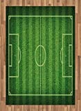 Boy's Room Area Rug by Lunarable, Realistic Green Grass Soccer Field Sports Hobby Competition Field, Flat Woven Accent Rug for Living Room Bedroom Dining Room, 5.2 x 7.5 FT, Lime Green Fern Green
