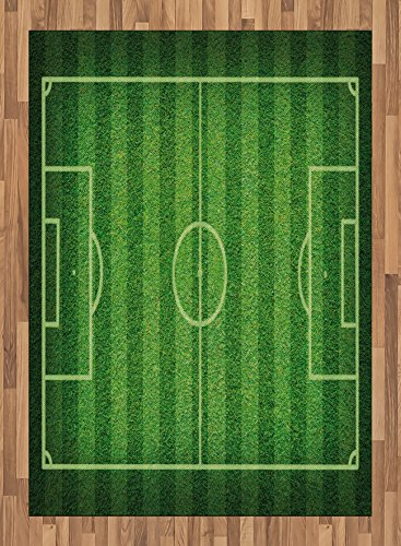 Boy's Room Area Rug by Lunarable, Realistic Green Grass Soccer Field Sports Hobby Competition Field, Flat Woven Accent Rug for Living Room Bedroom Dining Room, 5.2 x 7.5 FT, Lime Green Fern Green by Lunarable