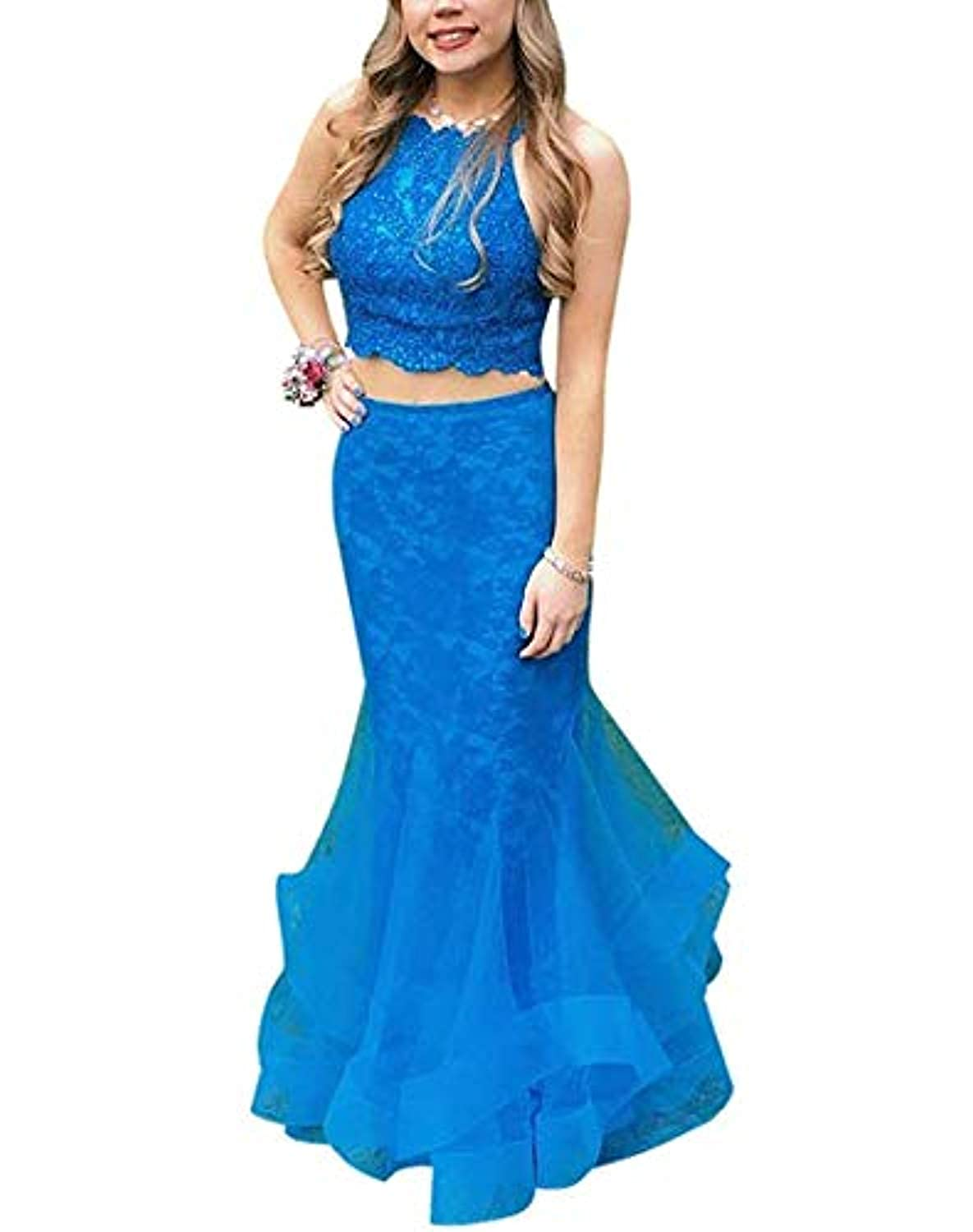 bluee Marirobe Women's Halter Multilayered Evening Dresses Tulle Beaded Prom Gown 2 Piece Formal Party Dress