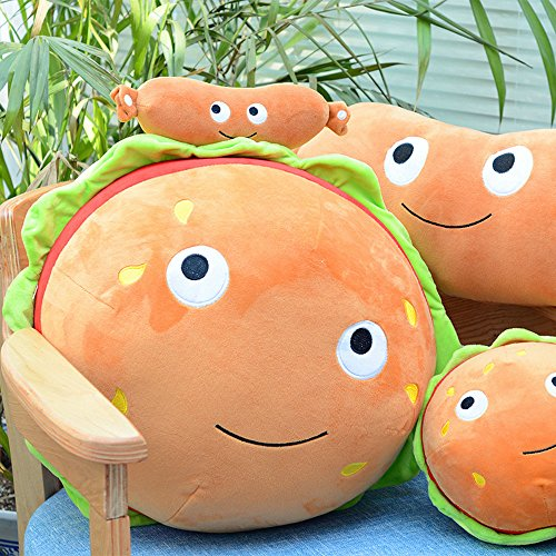 YuanShiming Hamburger Pillow Fluffy Stuffed Hamburger Pillow Soft Burger Food Plush Toy Gift For Kids Halloween Costume (25cm)