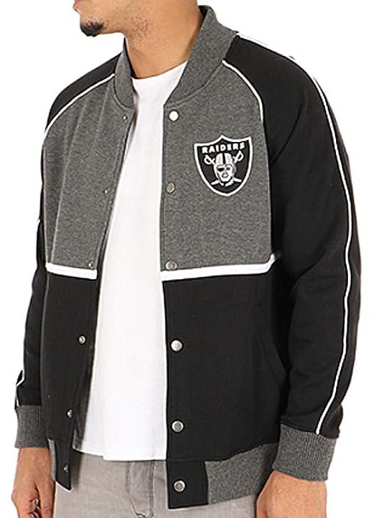 Chaqueta Majestic: Letterman Jacket Raiders BK/GR L: Amazon ...