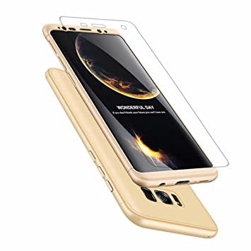 Funda Samsung Galaxy S8+/S8 Plus MISSDU Thin Fit 360 Carcasa Exact Slim de protección Completa y Protector de Pantalla de Vidrio Templado, Gold