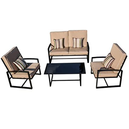 Charmant Transer 8 Piece Outdoor Patio Furniture Bistro Table Set Lounge Barrel  Chairs With Wrought Iron