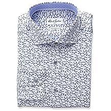 Robert Graham mens Trim Fit Leaf Print Spread Collar Dress Shirt