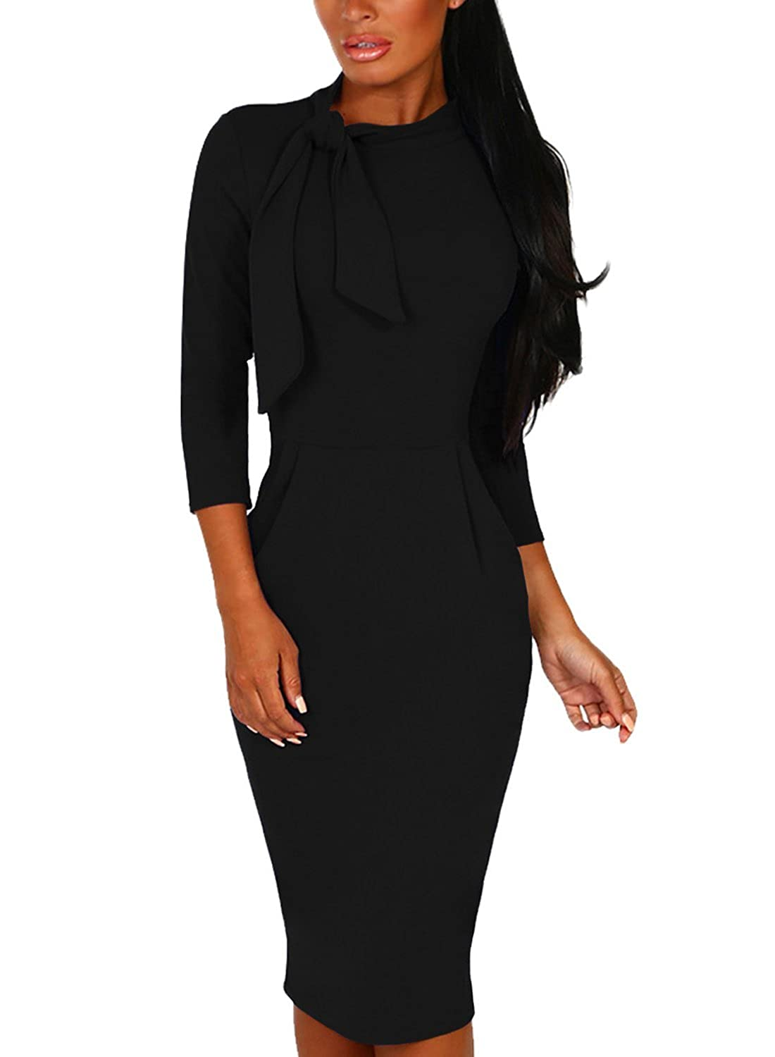 e736fd552e8 Womens bodycon cocktail dresses with sleeves. Features Tie crew neck