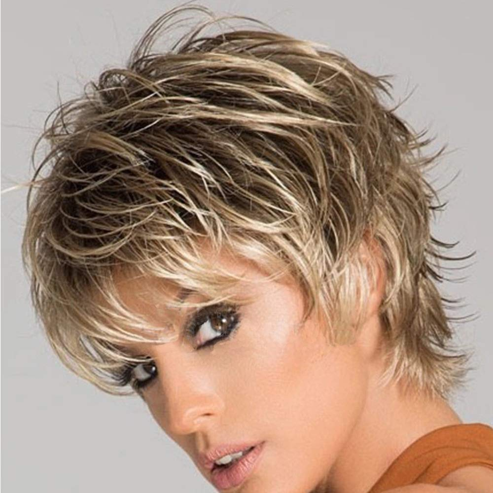 Amazon Com Beisd Short Blonde Hair Wig With Dark Roots