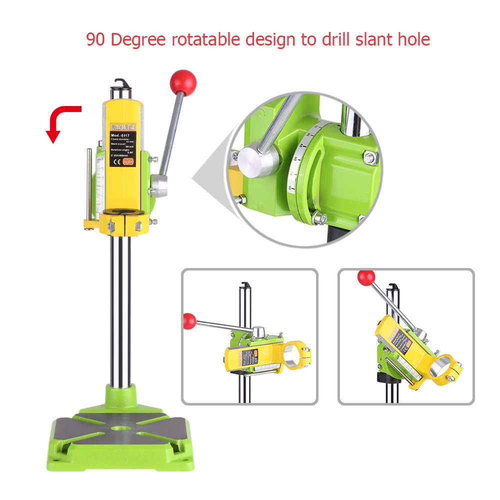 KKmoon High Precision Electric Power Drill Press Stand Table Rotary Tool Workstation Drill Workbench Repair Tools Clamp Work Station with 0-90 Degree Rotating Fixed Frame for Drilling Collet Table by KKmoon (Image #5)