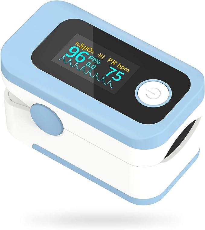 Pulsioxímetro Wawech oxímetro de dedo profesional con pantalla LED para medición de SpO2 y PI y PR