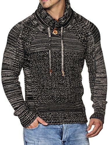 TAZZIO Herren Styler Grobstrick-Pullover mit Schalkragen Melange Muster 16480
