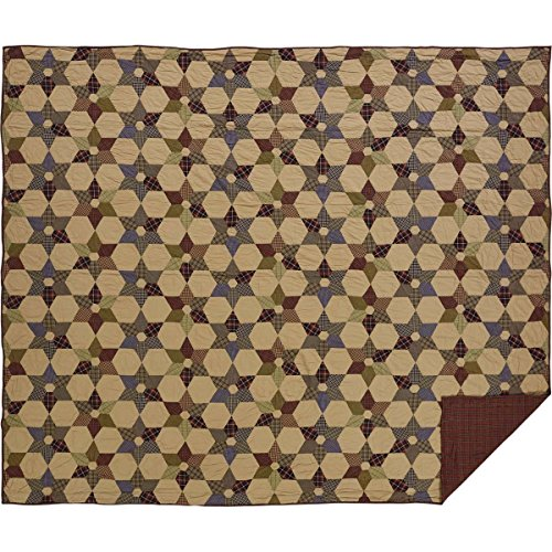 VHC Brands Rustic & Lodge Primitive Bedding - Tea Star Tan Quilt, King, Dark