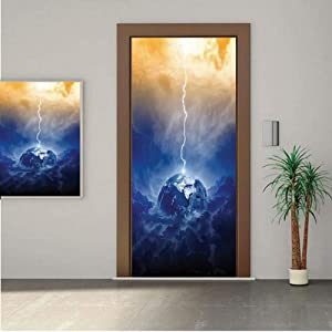 Ylljy00 Lake House Decor Door Wall Mural Wallpaper Stickers,Big Lightning Hits Planet Earth in Dramatic Sky Energy Illumination Atmosphere Print 30x80 Vinyl Removable Decals for Home Decoration