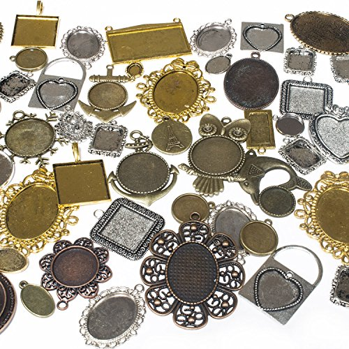 Picture Frame Locket - 100 Grams Mixed Picture Frame Charm Pendants 35-40 Pcs