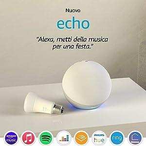 Echo (4ª generazione), Bianco ghiaccio + Philips Hue White Lampadina
