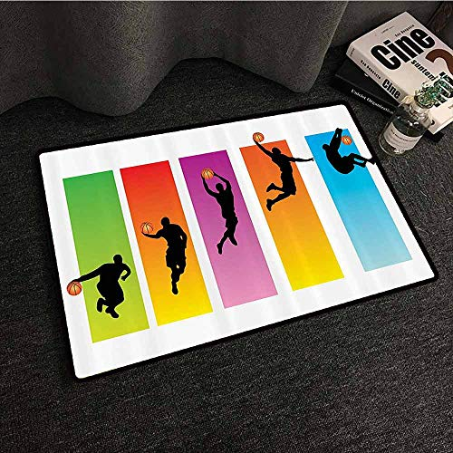 Sports Decor Collection Interior Door mat Basketball Slam Dunk Image Sequence of Actions Player Game Match Design Easy to Clean Carpet W20 xL31 Green Red Purple Blue -