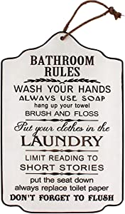 Funly mee Vintage Wood Bathroom Rules Signs with Hemp Rope, Rustic Bathroom&Laundry Room Wall Art Decor Plaque -17.8x11.8(in) (Bathroom Rules(White and Brown))