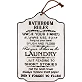 Funly mee Vintage Wood Bathroom Rules Signs with Hemp Rope , Rustic Bathroom&Laundry room Wall Art Decor Plaque -15.8x10.6(in