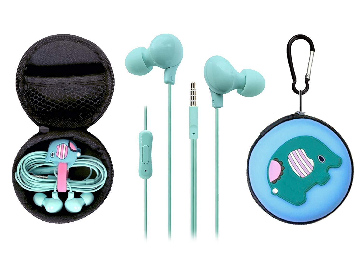 Headphones with Mic for Apple for Kids/Girls with Cute Case Elephant