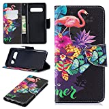 Find box Samsung Galaxy S10 Wallet Cover,Ultra Slim Magnetic Protective Cover Card Slots Leather Stand Feature Case for Samsung Galaxy S10 Flamingo