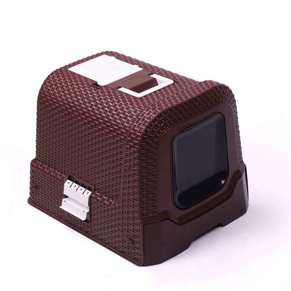 JiMany Pet cat Hooded cat Litter, Fully Enclosed Indoor Outdoor Portable cat Toilet, Rattan Style,Brown