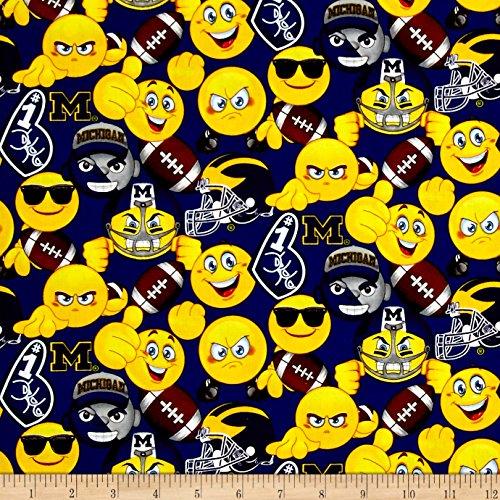 Sykel Enterprises Collegiate Cotton University of Michigan Emoji Fabric by the Yard, ()