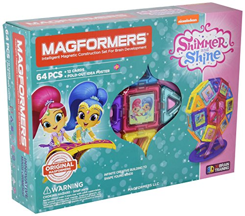 Magformers Nickelodeon Shimmer and Shine Carnival (64 Piece) Set Magnetic    Building      Blocks, Educational  Magnetic    Tiles Kit , Magnetic    Construction  STEM Toy Set