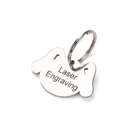 Paphos Placas de Identificación Personalizadas Grabado de Acero Inoxidable Etiqueta para Mascotas Etiquetas de identificación para Perro (Acero ...