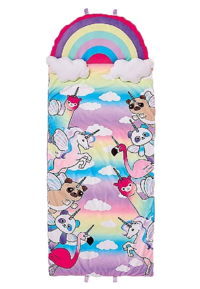 Justice Girls Unicorn Party Sleeping Bag Rainbow Pillow 30X60 - Unicorn Flamingo Panda Puggacorn Llama