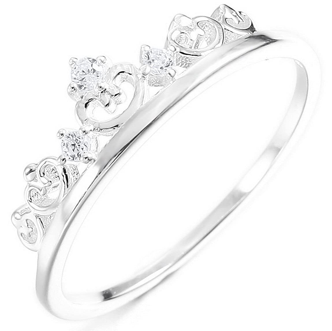 INBLUE Women's Sterling Silver Band Ring CZ Silver Tone Crown Valentine Love Couple Wedding Promise INBLUE Jewelry mne973-parent