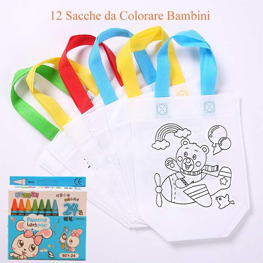 24 pcs Bol/ígrafos Gudotra 12 pcs Bolsas para Colorear Bolsas Infantiles DIY Graffiti Regalos de Cumplea/ños Comuniones Celebraciones