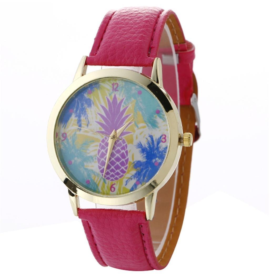 Women 's Watch、howstarシンプルさ漫画パイナップルパターンファッションレザークォーツ腕時計 ホットピンク ホットピンク B0725Z1N8C