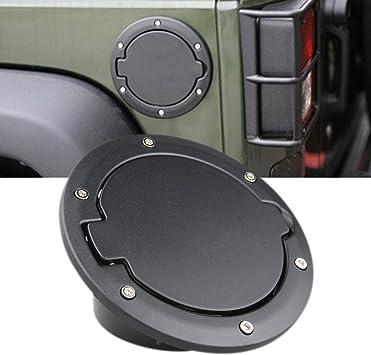 For Jeep Wrangler JK 07-18 Unlimited Black Fuel Filler Door Cover Gas Tank Cap