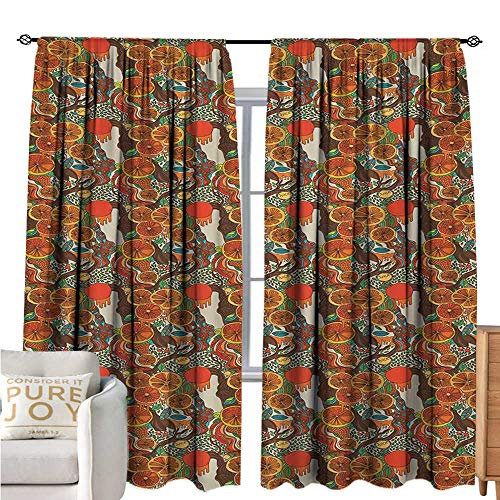 bybyhome ColorfulSimple curtainWarm Colored Juicy Oranges with Abstract Foliage Leaves in Doodle Drawing StyleCustomized Curtains W84 xL108 Multicolor