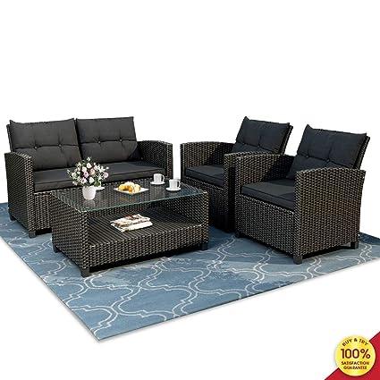 Amazon.com: Romatlink - Juego de 4 muebles de mimbre para ...