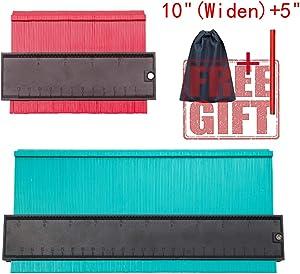 "2 Pieces Contour Gauge Copy 5"" and 10"" Contour Copy Tool Shape Measure Corner and Contour, Send a Carpenter's Pencil and a Storage Bag (blue)"