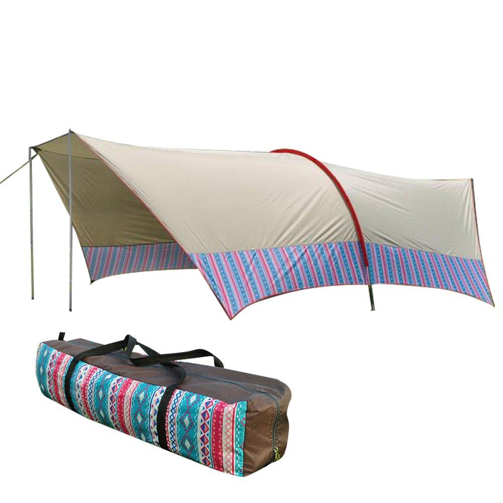 Hewflitヘキサタープ タープテント 日よけ 2way スカイオーバータープ 民族風 収納袋付 大型テント 600cm×380 cm×180cm キャンプ用品 [8-10人用] [並行輸入品] B07F2W2VC4  ベージュ