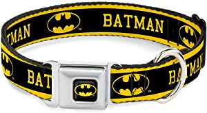 Buckle-Down Seatbelt Buckle Dog Collar - Batman/Logo Stripe Yellow/Black