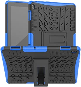 DWaybox Heavy Duty Case for Lenovo Tab E10 TB-X104F Hybrid Armor Rugged Shockproof Combo Dual Layer Hard Protective Cover with Kickstand -Blue