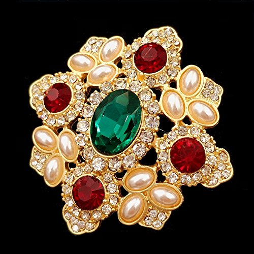 207845733 DREAMLANDSALES Byzantine Vintage Imitated Pearls Cluster Red Green Stone  Cross Brooches Pins