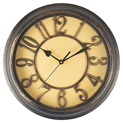 Benail 12 Inch Wall Clock Bedroom Wall Clock Retro Non Ticking Silent Quartz Decorative Wall Clock Perfect for Bedroom, Living Room, Kitchen, Office (Bronze)