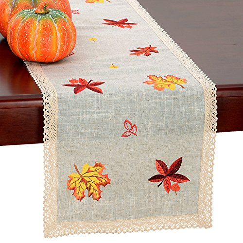 Grelucgo Thanksgiving Holiday Lace Table Runner Or Dresser Scarf, Embroidered Maple Leaves Fall Table Linen, Rectangular 15 By 35 Inch (Scarf Leaves Lace)