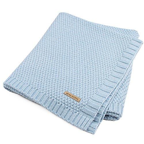 SOBOWO Baby Swaddle Blanket, Babies Knit Soft Wrap Stroller Blankets for Infant Girls Boys Cribs, Nursing, Security (Light -