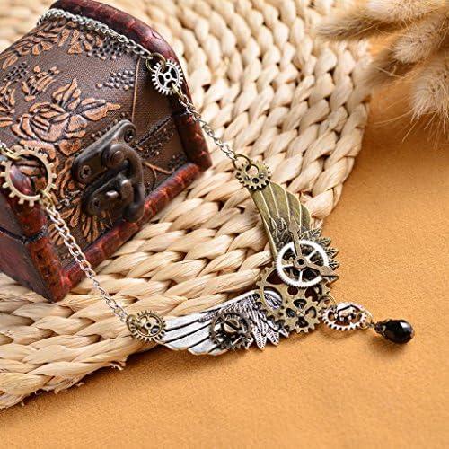 steampunk engrenage heure main plume ailes pendentif collier chaîne pour