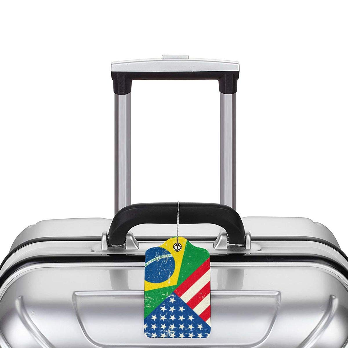 GoldK USA Brazil Flag Leather Luggage Tags Baggage Bag Instrument Tag Travel Labels Accessories with Privacy Cover