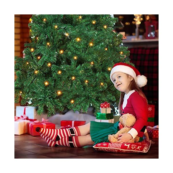 OUSFOT Albero di Natale 180cm con Custodia 800 Rami Supporto Pieghevole in Metallo Alberi di Natale Artificiale PVC Facile da Montare per Natalizie Decorazioni da Interno e All'aperto 4 spesavip