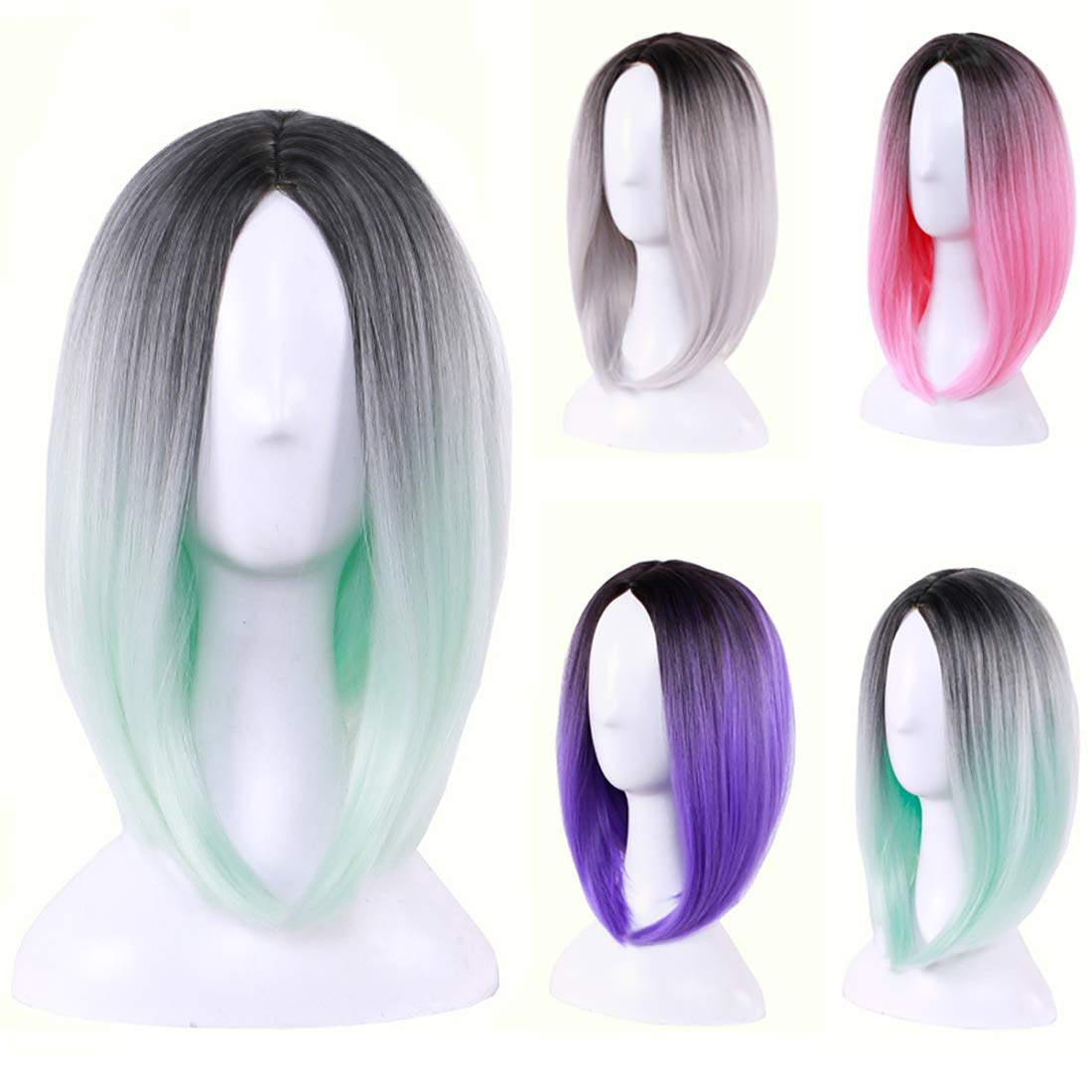 Wigood 12'' Short Bob Wig Ombre Green Straight Cosplay Wig with Free Wig Cap for Women