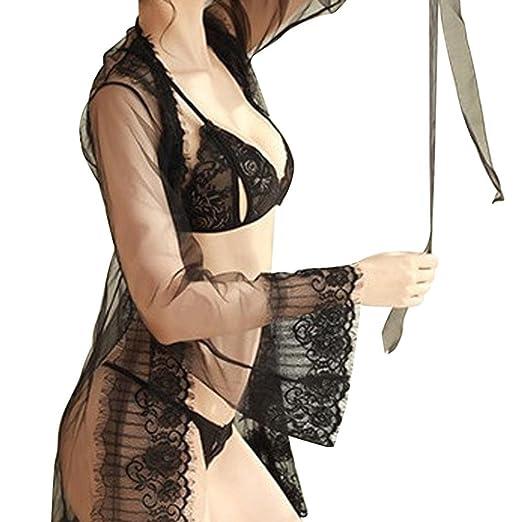649d1f4f04e Cywulin Women s Sexy Lace Kimono Robe Floral Babydoll Long Sleeve Lingerie  Mesh Bra Panty Set Nightgown